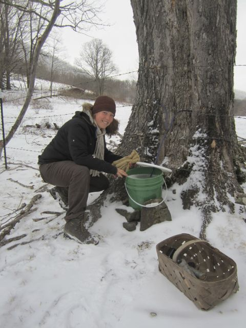 Taylor checking the frozen harvest!