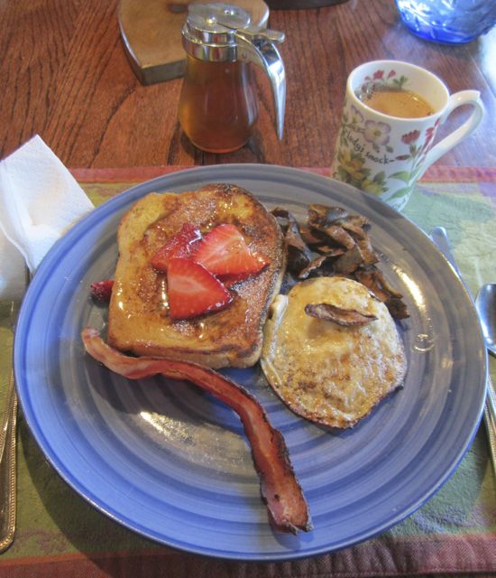 The final product from tree to plate.... ooooh baby! So I splurged and made sourdough bread french toast topped with strawberries as a platform for the Maple syrup! Alone with the fried egg and bacon are some rather burned potato peels that I fried in the bacon grease (I don't throw much if anything away...ever) and Dandelion root coffee for the perfect touch!