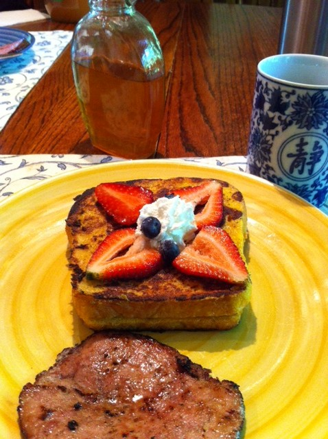Sourdough French toast stuffed with creamed cheese Blueberries and Dandelion Blossom Jelly. Off the chain...