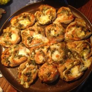 Burdock stem pizza rolls