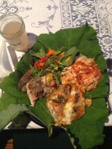 WIld dinner on a burdock leaf